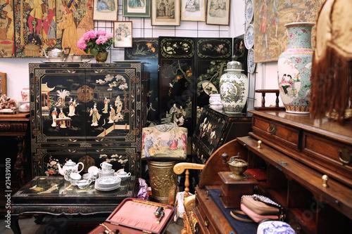 Various vintage home furnishings in the flea market
