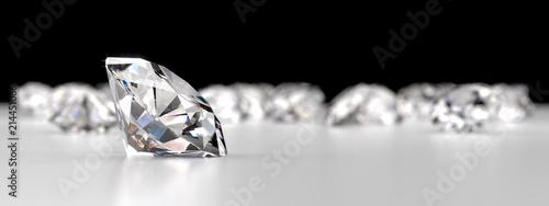 Grupa diamenty umieszczający na odbicia tle, 3d rendering.