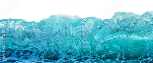 Big blue stormy sea wave isolated on white background. Climate nature concept. Front view