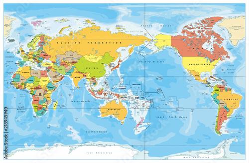 Kolorowa mapa świata w centrum Pacyfiku