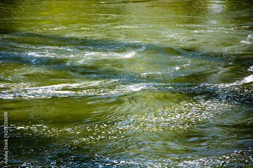 Green water in the river