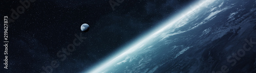 Panoramic view of planet Earth with the moon 3D rendering elements of this image furnished by NASA