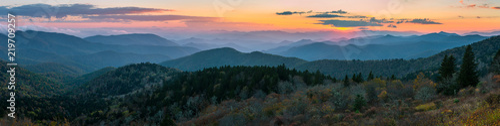Blue Ridge Mountains malowniczy zachód słońca