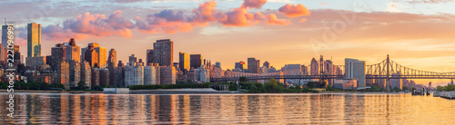 View to Manhattan skyline from the Long Island City at sunrise