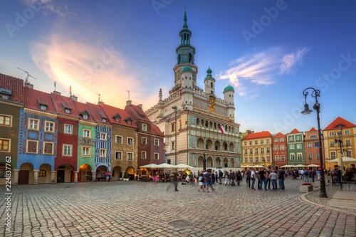 Architecture of the Main Square in Poznan, Poland.