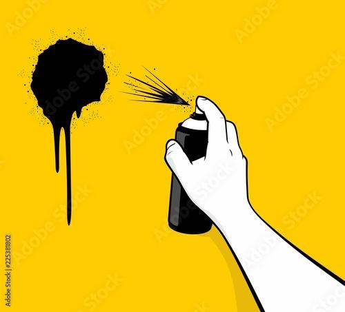 Man hand using black spray painting