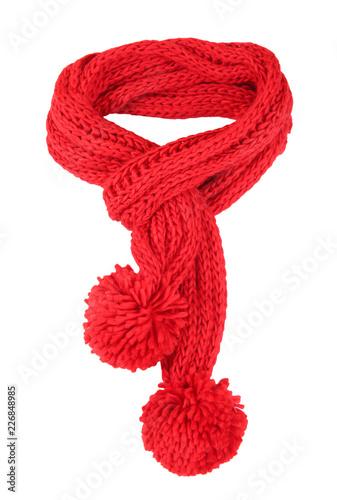 Czerwony szalik na białym tle.