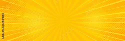 Sztuka tło żółte pop-artu. Ilustracja wektorowa transparent