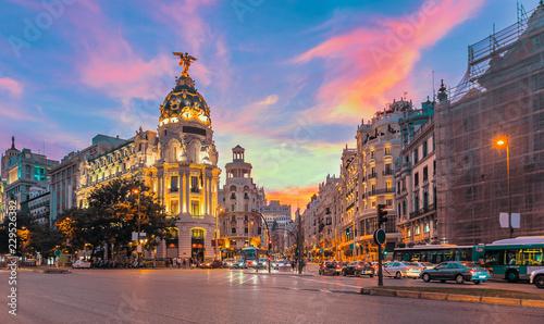 Madrid city skyline gran via street twilight , Spain