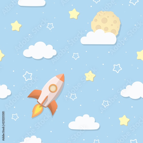 Cute seamless sky pattern with full moon, clouds, stars, and rocket. Cartoon space rocket flying to the Moon. Children's bedroom, baby nursery wallpaper. Cover or a gift wrap. Vector Illustration.