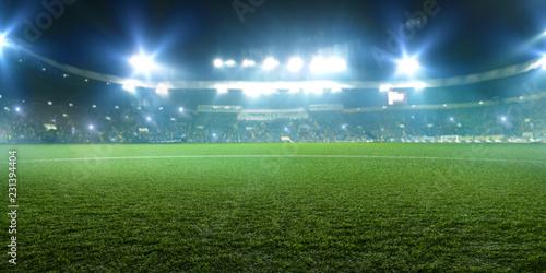 Football stadium, shiny lights, view from field
