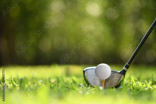 Piłka golfowa na zielonej trawie przygotowywającej uderzającą na pola golfowego tle