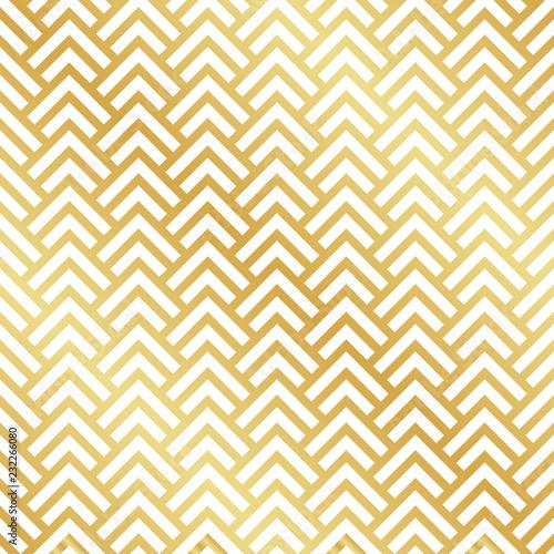 Seamless gold Art Deco herringbone pattern. Abstract geometric vector pattern background.