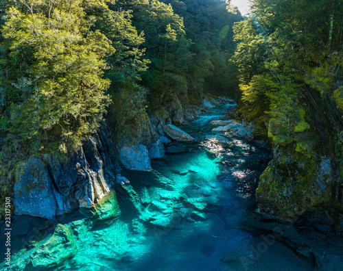 Famous attraction - Blue Pools, Haast Pass, New Zealand, South Island