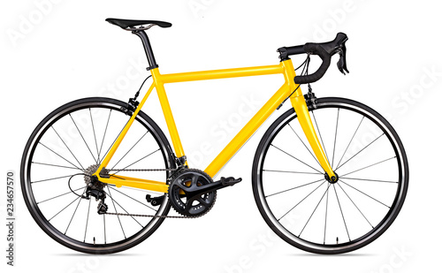 żółty czarny wyścigi sportowe szosowe rower szosowy na białym tle
