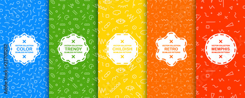 Collection of bright colorful seamless patterns - memphis design. Trendy vibrant vector backgrounds. Fashion style 80-90s