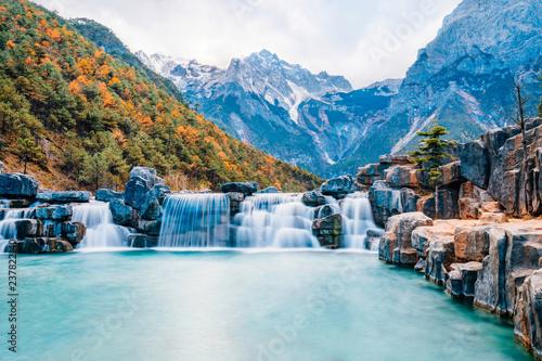 Landscape of Blue Moon Valley in Jade Dragon Snow Mountain, Lijiang, Yunnan, China