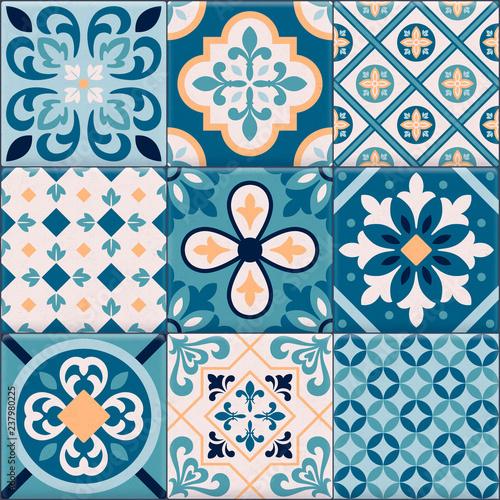 Realistic Ceramic Floor Tiles Ornaments Icon Set