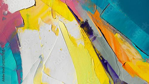 Fragment. Wielokolorowe malowanie tekstur. Streszczenie sztuka tło. olej na płótnie. Szorstkie pociągnięcia pędzlem farby. Zbliżenie obraz olejny i szpachlą. Teksturowane detale o wysokiej jakości.