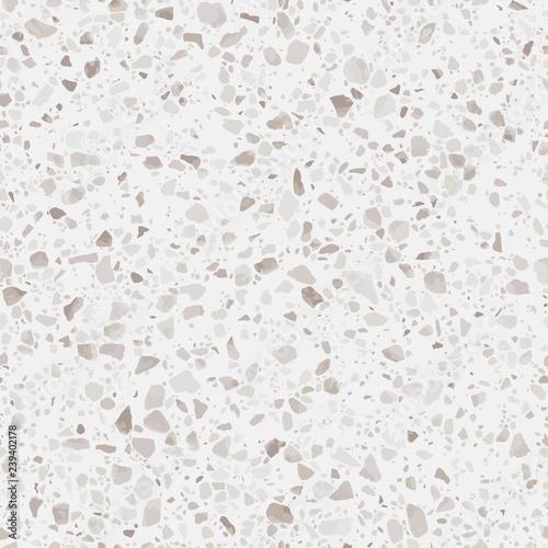 Terrazzo flooring seamless texture. Realistic vector pattern of mosaic floor with natural stones, granite, marble, quartz, concrete. Classic Italian floor. Repeatable design for decor, render, print