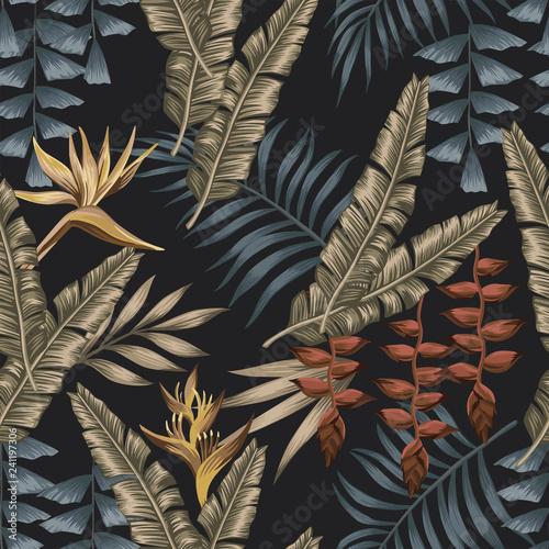 Exotic jungle seamless black background