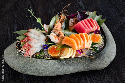 japanese foods sashimi (raw sliced fish, shellfish or crustaceans) - Image