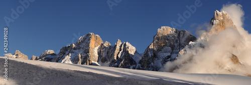 The Pale di San Martino dolomitic group with Cimon della Pala near San Martino di Castrozza as seen from Passo Rolle. Trentino Alto-Adige in Italy.