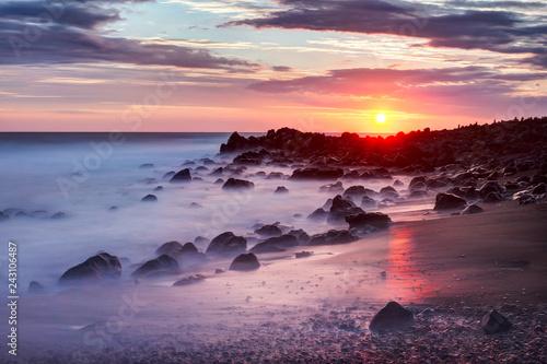 Sunset Etang Sale Coastline of reunion island