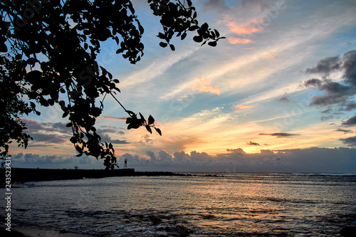 terre sainte beach during sunset, reunion island