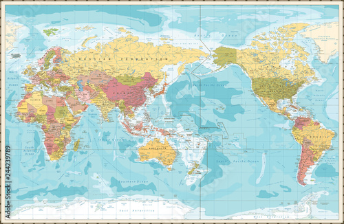 World Map Vintage Color Pacific Centred