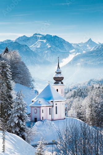Church of Maria Gern in winter, Berchtesgadener Land, Bavaria, Germany