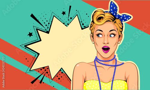 Piękny zaskoczony pin up girl ilustracji wektorowych w stylu pop-art