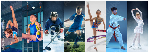 Attack. Sport collage about teen or child athletes or players. The soccer football, ice hockey, figure skating, karate martial arts, rhythmic gymnastics. Little boys and girls in action or motion