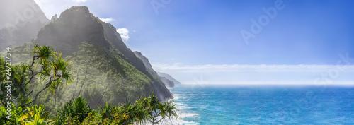 Sceniczna oceanu raju panorama, Na Pali wybrzeża stanu park na wyspie Kauai, Hawaje