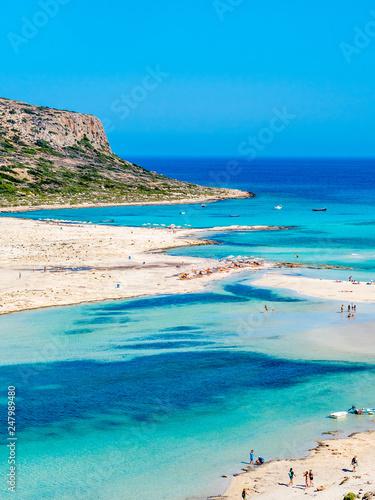Kreta, Grecja: laguny Balos rajski widok na plażę i morze
