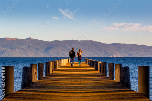 Pier with people Lake Tahoe