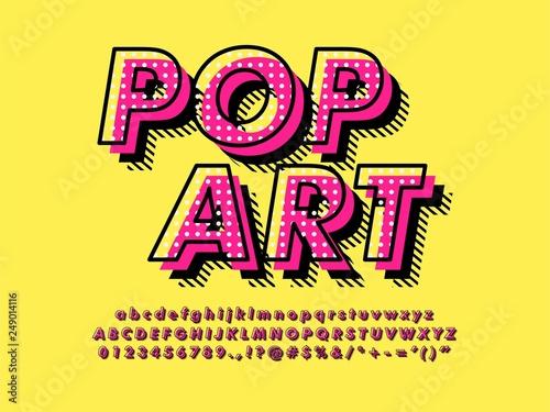 Nowoczesny retro stary efekt czcionki Pop Art z bogatym wzorem tekstury i cieniem kompatybilny z ilustratorem 10