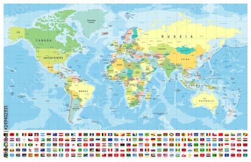 Mapa świata i flagi - granice, kraje i miasta - ilustracja