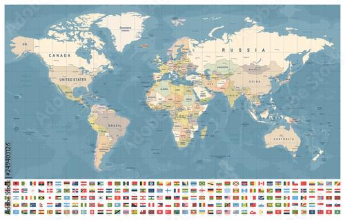 Mapa świata i flagi - granice, kraje i miasta - vintage ilustracji