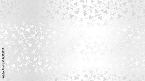 Seamless vector silver texture floral pattern. Luxury repeating damask platinum background. Premium wrapping paper or silk metallic cloth.