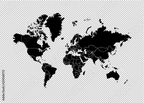 world map - High detailed Black map with counties/regions/states of world. world map isolated on transparent background.