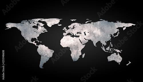 3d world map metal on black background