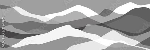Monochromatyczne góry, półprzezroczyste szare fale, abstrakcyjne kształty szkła, nowoczesne tło, wektor wzór Ilustracja do projektu