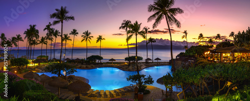 Tropical resort with sunset