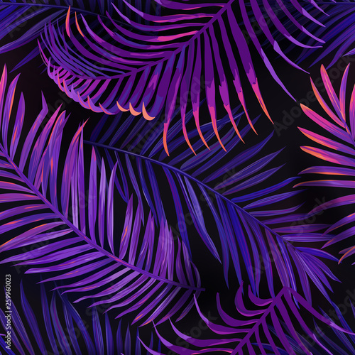 Tropical Neon Palm Leaves Seamless Pattern. Purple Colored Floral Background. Summer Exotic Botanical Foliage Fluorescent Design with Tropic Plants for Fabric, Textile, Wallpaper. Vector illustration