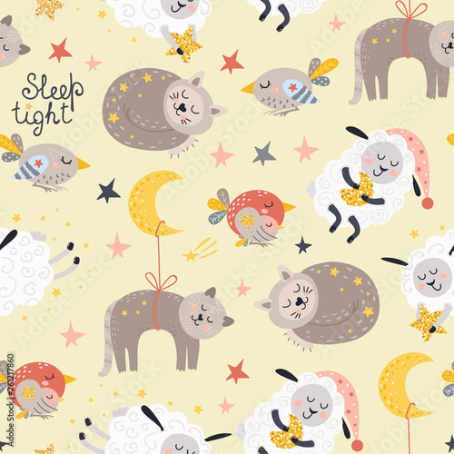Seamless pattern for girls with sleeping animals