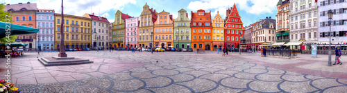 WROCLAW, POLAND - APRIL 22, 2019: Wroclaw Old Town. Salt Square. City with one of the most colorful market squares in Europe. Historical capital of Lower Silesia, Poland, Europe.