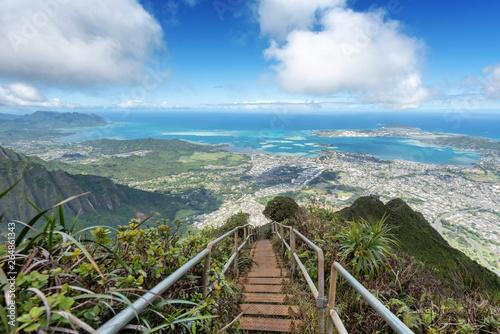 Lush mountain scenes from a ridge trail on Oahu, Hawaii overlooking Kaneohe, Kailua and the windward side of the island