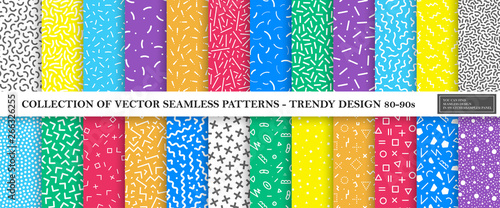 Colorful vibrant vector collection of memphis seamless patterns. Fashion design 80-90s. Bright stylish textures.