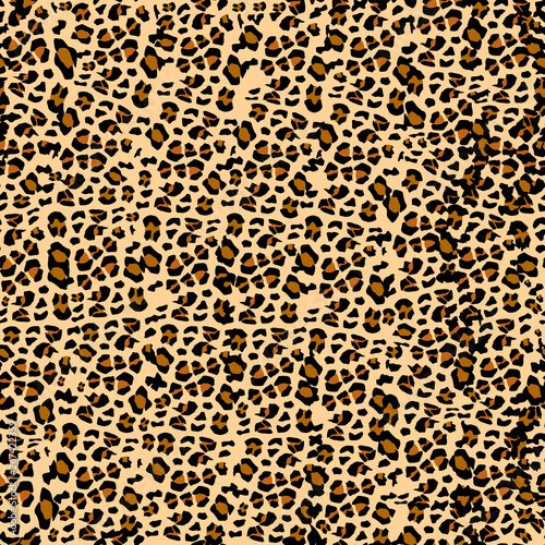 Leopard pattern. Seamless vector print. Realistic animal texture. Black and yellow spots on a beige background. Abstract repeating pattern - leopard skin imitation can be painted on clothes or fabric.